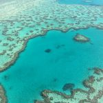 Flight over Heart Reef with Compass Helicopters, stunning aqua water